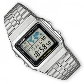 Casio 5 Alarmen Wereldtijden Chrono Digitaal Horloge Zilver 34mm