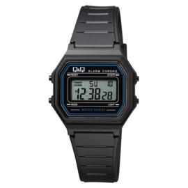 Q&Q Kinderhorloge Digitaal Stopwatch Alarm Zwart Blauw 34mm