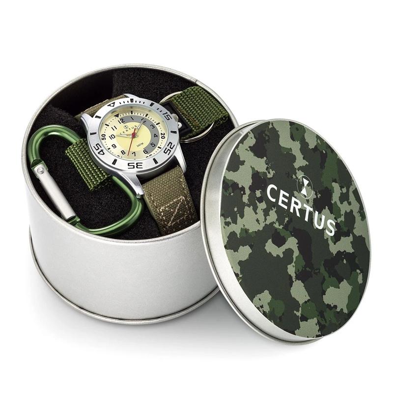 Certus Giftset Camouflage - Horloge met Sleutelhanger 36mm Khaki
