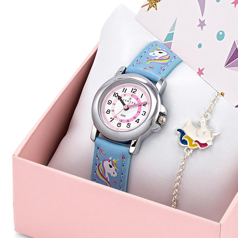 Certus Giftset Unicorns - Horloge met Armband 26mm Blauw