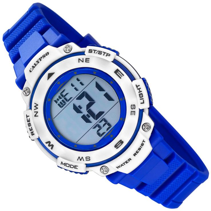 Calypso Digitaal Stopwatch Kinderhorloge 10ATM 37mm Blauw/Wit