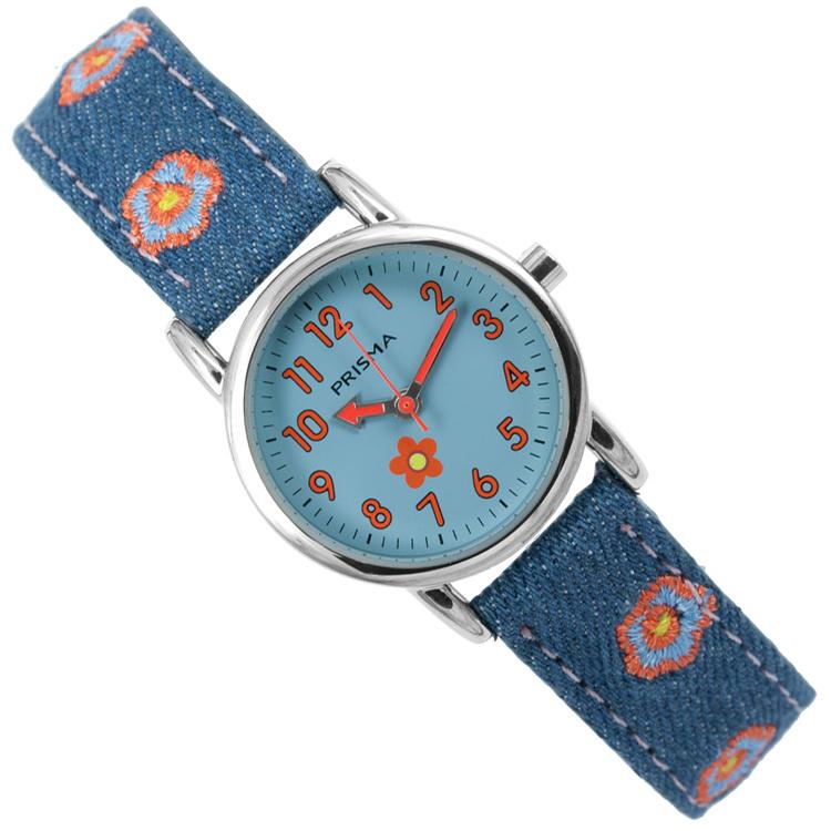 Prisma Denim Flowers Meisjeshorloge Blauw