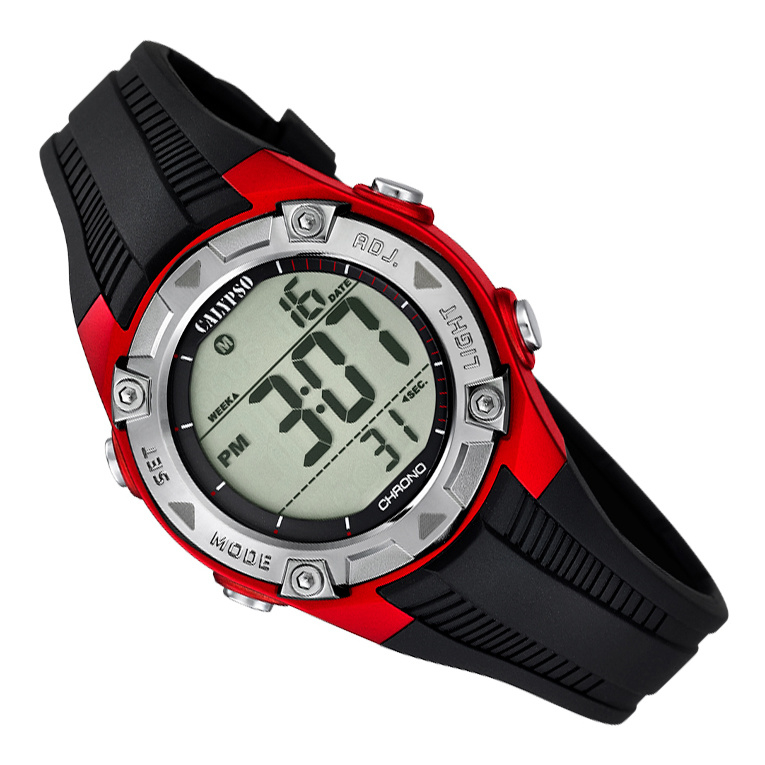 Calypso Digitaal Kinderhorloge 3 Alarmen Stopwatch 10ATM 35mm Rood
