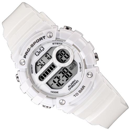 Q&Q Pro-Sport Digitaal Alarm-Chrono Horloge 10 ATM Wit