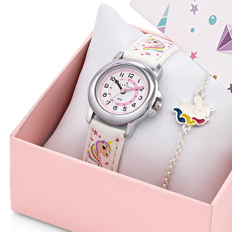 Certus Giftset Unicorns - Horloge met Armband 26mm Wit