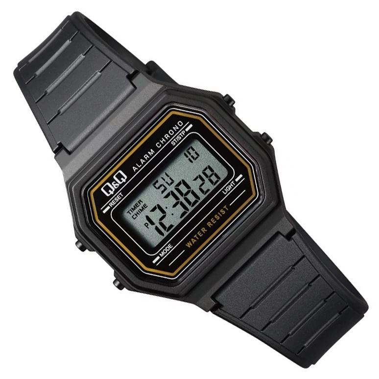 Q&Q Kinderhorloge Digitaal Stopwatch Alarm Zwart Goud 34mm