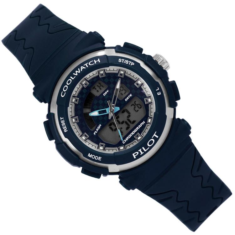 Coolwatch Analoog-Digitaal Kinderhorloge Pilot Blue