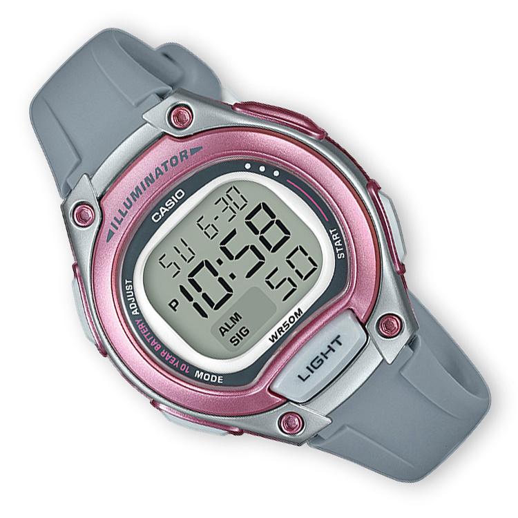 Casio Digitaal Kinderhorloge Alarm Grijs/Roze 34mm