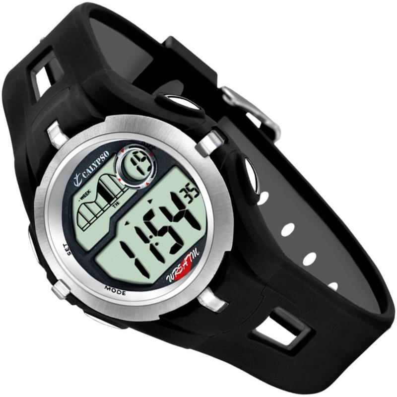 Calypso Digitaal Tienerhorloge Stopwatch 2 Alarmen 42mm Zwart