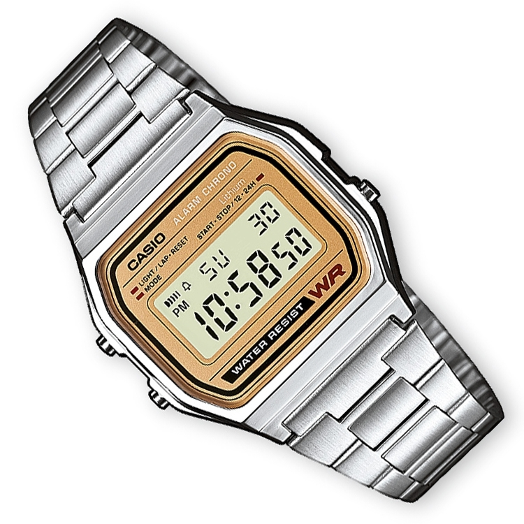 Casio Alarm Chrono Digitaal Horloge Brons 34mm