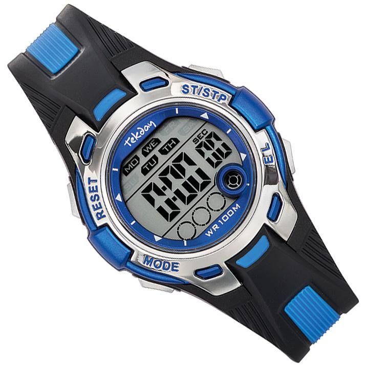 Tekday Digitaal Stopwatch Horloge Alarm 100m Blauw/Zwart