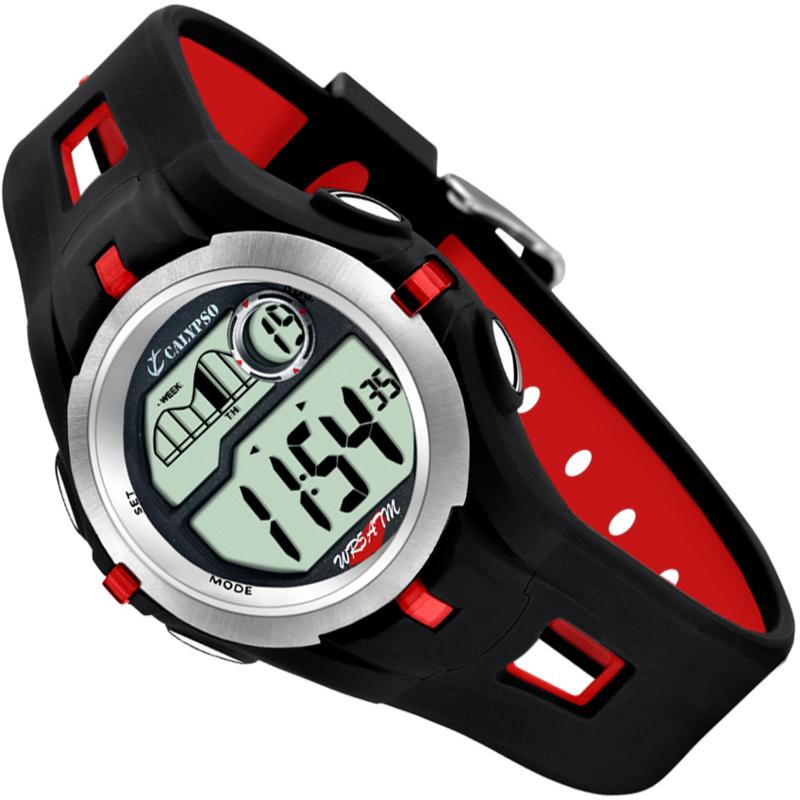 Calypso Digitaal Tienerhorloge Stopwatch 2 Alarmen 42mm Rood