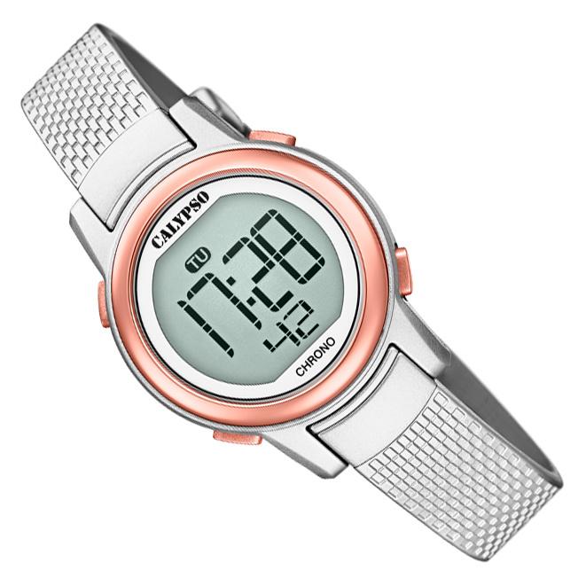 Calypso Digitaal Kinderhorloge Alarm Stopwatch 10ATM 29mm Zilver