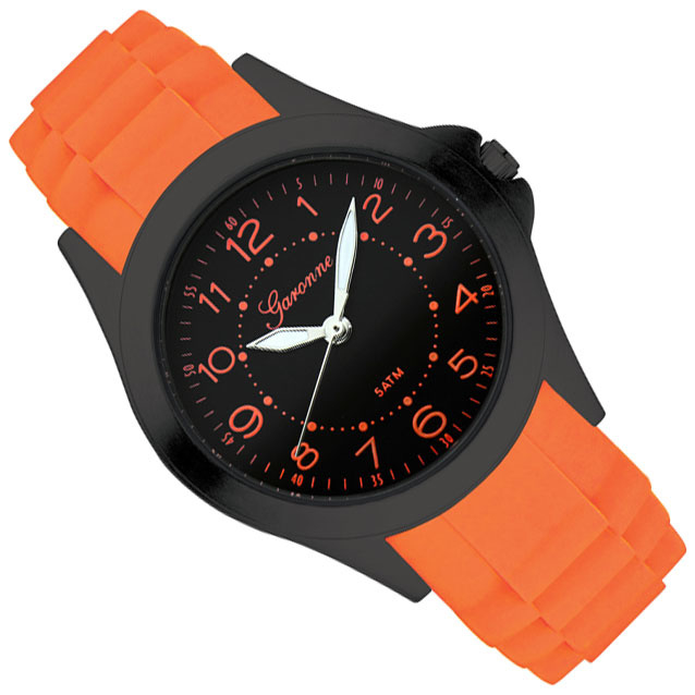 Garonne Jongenshorloge Rubberen Schakelband Zwart Oranje 33 mm