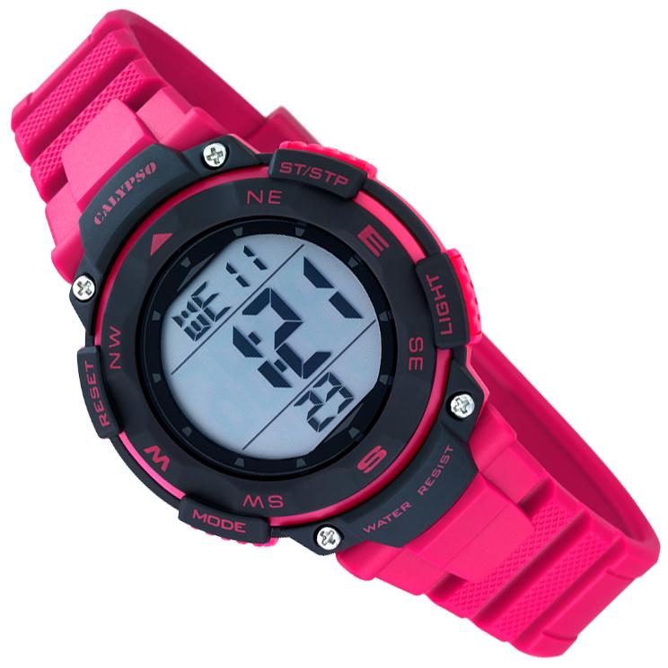 Calypso Digitaal Stopwatch Kinderhorloge 10ATM 37mm Roze