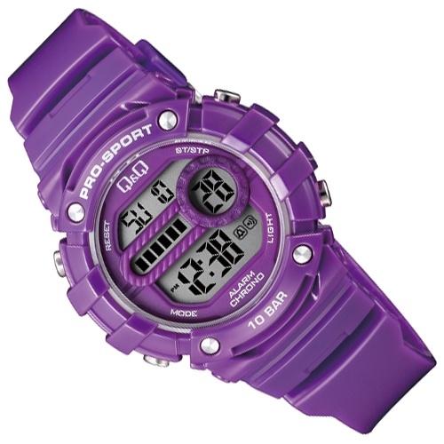 Q&Q Pro-Sport Digitaal Alarm-Chrono Horloge 10 ATM Paars