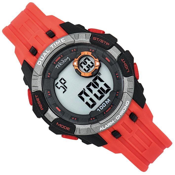 Tekday Digitaal Kinderhorloge Alarm 100m Oranjerood