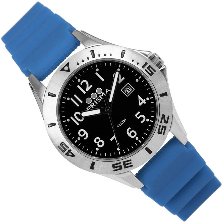 Prisma Pro Diver RVS Duikhorloge 100m Datum Blauw/Zwart