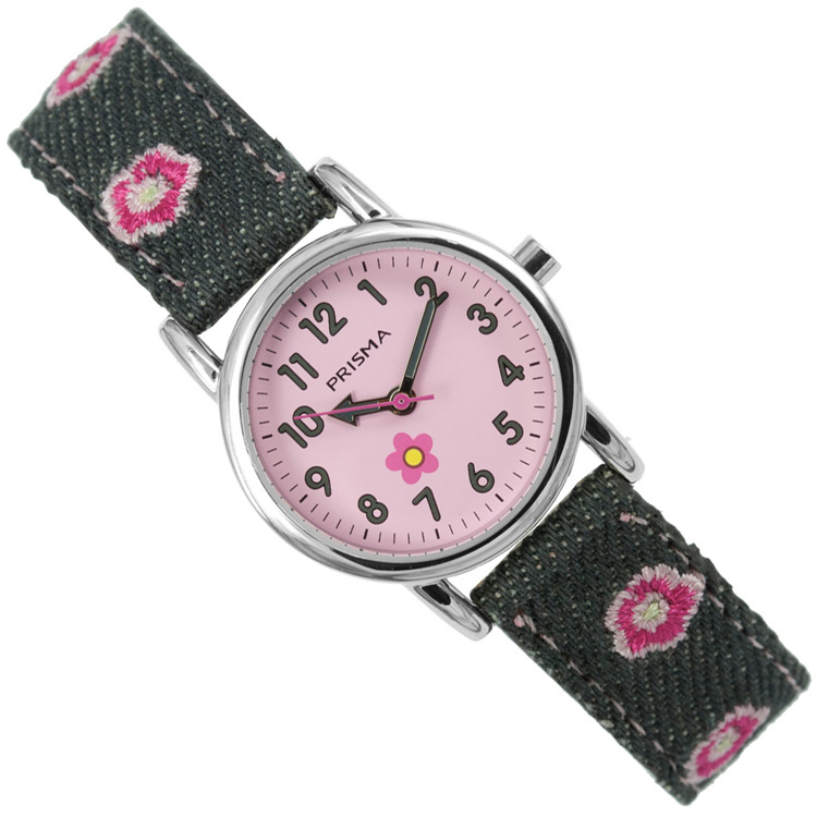 Prisma Denim Flowers Meisjeshorloge Roze Grijs