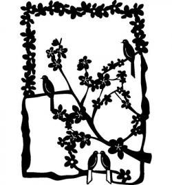 Vogels op tak in bloemenkader