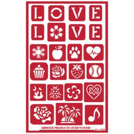 Glasets sjabloon Love 21-1702
