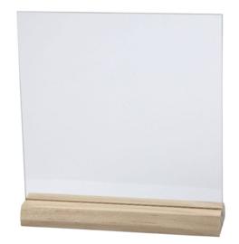 Glasplaatje in massief houten voet  10 stuks maat S