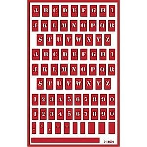 Glasets sjabloon letters 1cm. 21-1601