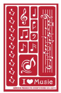 "Glasets sjabloon ""musical notes"" 21-1671"