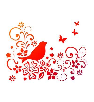 Vogel met bloemen & vlinders Viva
