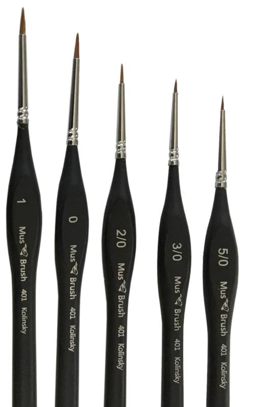 Serie 401 round/fine Kolinsky Set 5 brushes