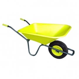 Tuinkruiwagen PP bak 90L, gel.onderstel -Lime