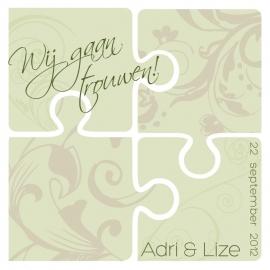 Trouwkaart Adri en Lize