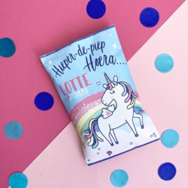 Traktatie chipszakje Regenboog Unicorn printable