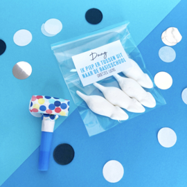 Traktatie sticker - Afscheid kinderdagverblijf (blauw)