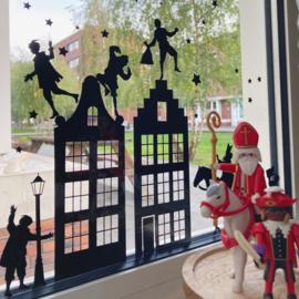 Raamstickerset Sinterklaas met Pieten