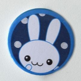 Button konijn blauw