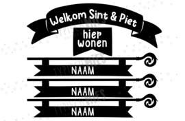 Raamsticker Welkom Sint en Piet met naam