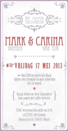 Trouwkaart Mark en Carina