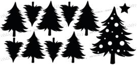 Raamsticker Dennenbomen