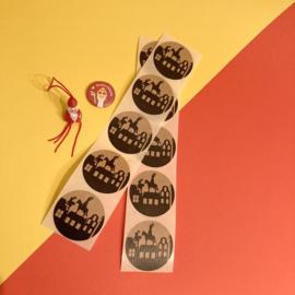 Sinterklaas sticker - grachtenpandjes kraft