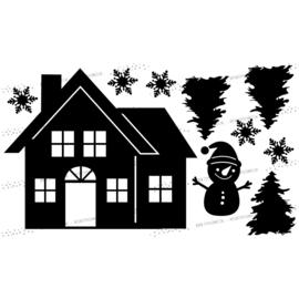 Raamsticker Huisje met sneeuwpop