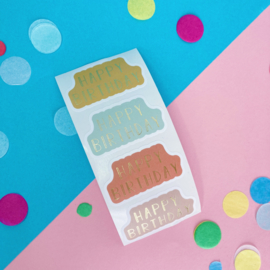 Stickers Happy Birthday - 4 kleuren