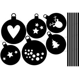 Raamsticker Kerstballen 1