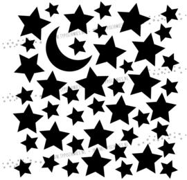 Raamsticker Maan met sterren