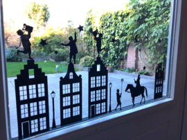 Raamstickerset Sinterklaas met paard