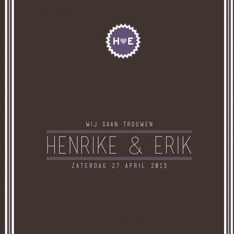 Trouwkaart Henrike en Erik