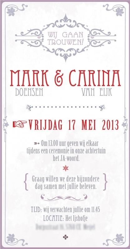 Trouwkaart Mark en Carina