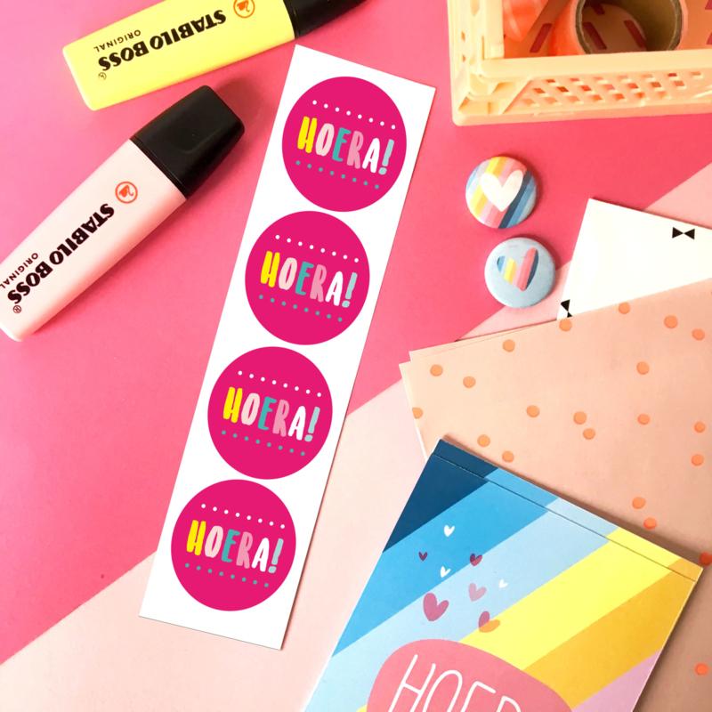 Stickers TypischMies Hoera - roze