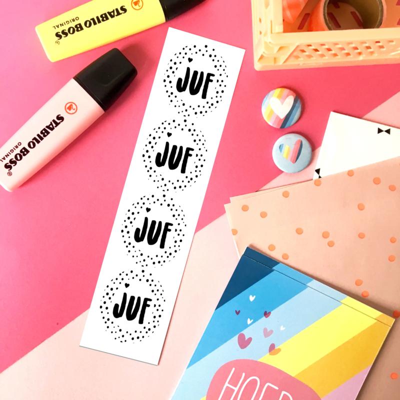 Stickers TypischMies Juf - zwart wit