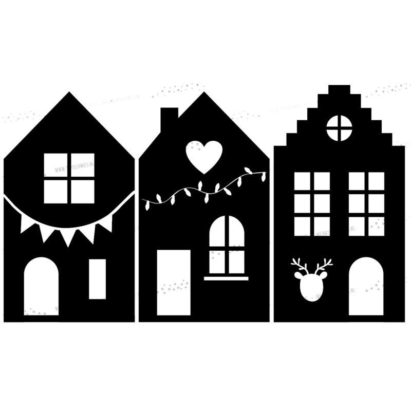 Raamsticker Kersthuisjes 1
